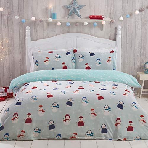Sleepdown Jolly Snowman Christmas Fleece Blue Warm Cosy Super Soft Easy Care Xmas Grey Stars Reversible Duvet Cover Quilt Bedding Set with Pillowcase - Single (135cm x 200cm)
