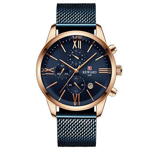 CXJC Cronógrafo de calendario de cinturón deportivo multifuncional multifuncional de los hombres, reloj de negocios de malla de Milan Milan de acero inoxidable reloj de negocios (Color : Azul)