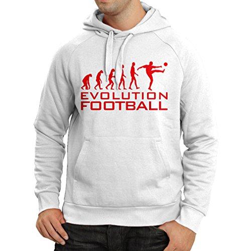 lepni.me Sudadera con Capucha La evolución del fútbol - Camiseta de fanático del Equipo de fútbol de la Copa Mundial (XXX-Large Blanco Rojo)