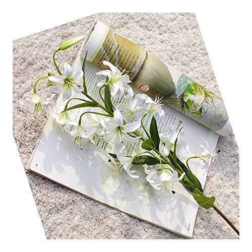 Fresca Boda de la Flor Artificial Flower Room Cadena 80cm Sola Rama Lily Rattan Bricolaje Home Living decoración de la Tabla de la decoración de Flores Color (Color : White)