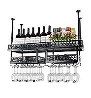 Hmvlw ワイン棚 アメリカの壁掛けワインラックメタルアイアンストレージはバーホーム天井の壁はワイングラスゴブレットワインボトルラックハンギングラック (Color : Black, Size : 100×31cm)