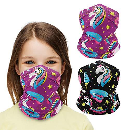 QKURT 2 polainas para el cuello para niños, protección UV, multifuncional, bufandas para deportes al aire libre, motocicleta, equitación, niños, niñas, unicornio.
