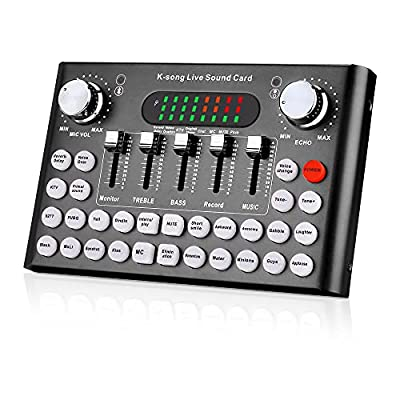 Live Sound Card, Bluetooth Effects and Voice Changer, Audio Mixer for Live Streaming, Music Recording, Podcast, Karaoke Singing for iPhone, Mobile Phone, Type C, Computers-Black