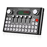 Bluetooth Live Sound Card, Audio DJ Mixer with Multiple Sound Effects for Live Streaming, Music Recording, Online Game, Singing, Support Mobile Phone, iPhone, PC, Laptop, Tablet