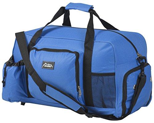 Andes 40 Litre Blue Sports Gym Travel Bag Shoulder Holdall Luggage Includes Shoe Pocket Drinks Pocket and Adjustable Shoulder Strap