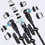 Magnetisches Schnellladekabel,YCZ 3-in-1-Ladekabel mit Datenübertragung,magnetisches Ladekabel für Typ C,Micro-USB und iProduct (3,3 Fuß/6,6 Fuß/6,6 Fuß)