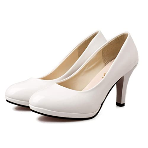7e88ba647f OverDose Women's Spring Fashion Round Toe Shoes Bowknot Shallow High-Heeled  Shoes