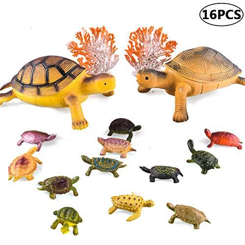 BESTZY 16 stücke Realistische Schildkröte Lebensechte Ozean Tier Kleine Schildkröte Figuren Pädagogisches Spielzeug für Kinder Lernen Pädagogisches Spielset Party