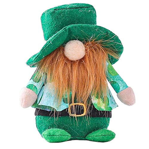 iScooter Easter GNOME, Patricks Day GNOME Decoration, Easter Plush Doll Toy Farmhouse Cute Ornaments Green Clover Spring Elf Handmade Swedish Tomte Collectible Gift - Bedroom Living Table Decor - 1