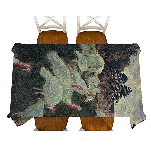 XXDD Monet-Jenny en la Pintura del jardín Mantel de Lino Decorativo Impermeable Grueso Rectangular Cubierta de Mesa de Comedor Mantel de té Mantel A10 135x200cm