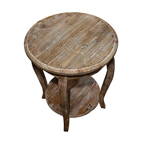 *Alaterre austerität Wieder Ende Tisch, Treibholz Reclaimed Round End Tisch Treibholz-Braun*