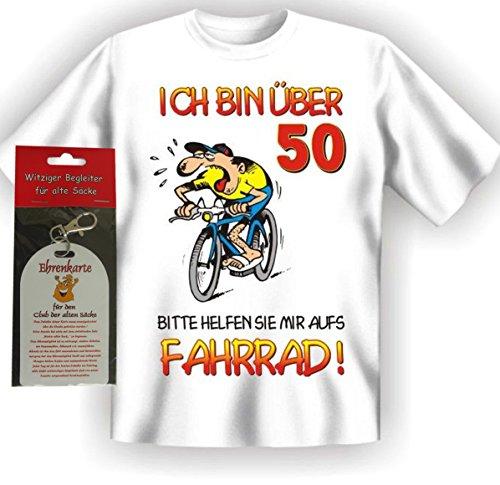 T-Shirt Ich bin über 50 bitte helfen sie mir aufs Fahrrad Größe L + Ehrenkarte alte Säcke