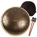 LOMUTY Tambor de Lengua de Acero, D Chiave 15 Notas 13 Pulgadas Hand Drum, Instrumento de Percusión Handpan Drum con Kit para Educación Musical(Bronce)