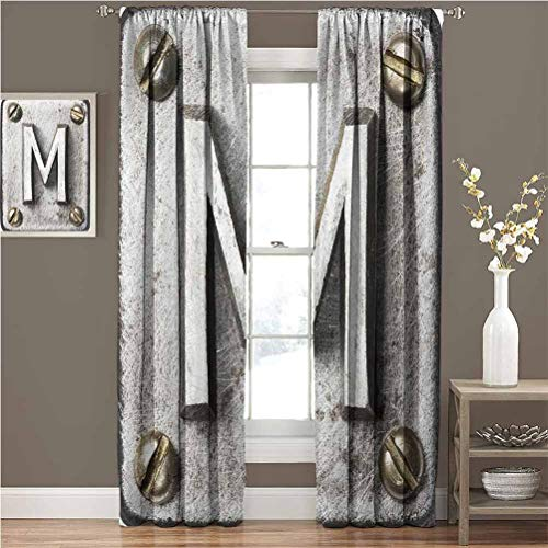 Mademai Letter M Blacked Out Curtain Zinc Iron Steel Alphabet Typeset with Grunge Scratched Texture Industrial Image The Best Choice for Bedroom and Living Room W84xL84 Silver Gold