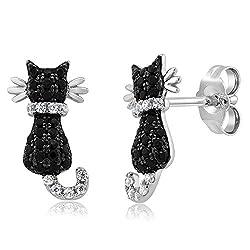 Cat Stud Earring 925 Sterling Silver Black & White Rhinestone