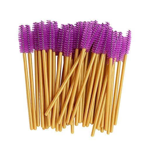 CyFe Lot de 50 baguettes à mascara jetables - Applicateur de cils - Outil de maquillage pour extensions de cils - Tige dorée (violet)