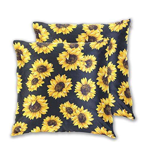 Emoya Juego de 2 fundas de cojín decorativas de girasoles cuadrados, para sofá, coche, decoración de cama, 50 cm x 50 cm