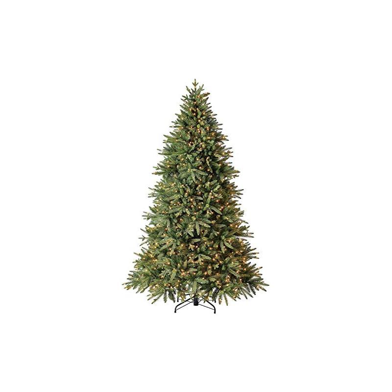 silk flower arrangements evergreen classics 7.5 ft pre-lit colorado spruce quick set artificial christmas tree, clear lights