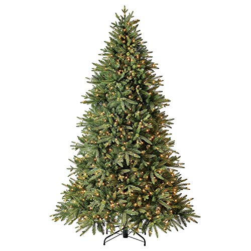 Evergreen Classics 7.5 ft Pre-Lit Colorado Spruce Quick Set Artificial Christmas Tree, Clear Lights
