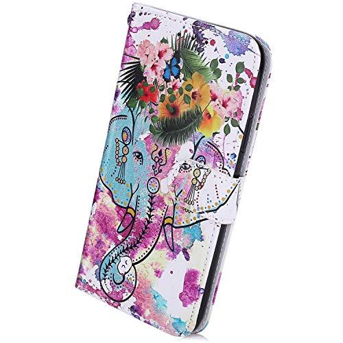 Herbests Kompatibel mit Samsung Galaxy S10 Handyhülle Muster Retro Bunt Muster Flip Case Schutzhülle Brieftasche Hülle Wallet Tasche Leder Hülle Klapphülle Kredit Karten,Blumen Elefant