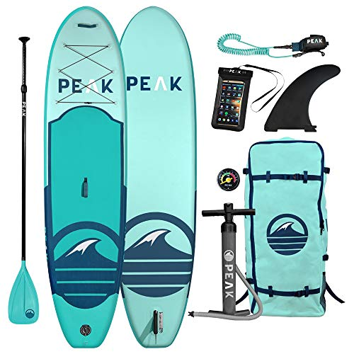 Peak All Around Inflatable Stand Up Paddle Board Package | 10'6' Long x 32' Wide x 6' Thick | Durable and Lightweight SUP | Stable Wide Stance | Aqua