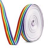HOWAF 15mm Rainbow Pride Ribbon Nastro grossgrain para Orgullo Gay LGBT, Envoltura Regalos, Fiesta de Boda Decoración, DIY Manualidades, 20M