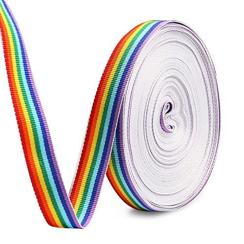 HOWAF 15mm Rainbow Pride Ribbon Nastro grossgrain para Orgullo Gay LGBT, Envoltura...