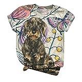 Blusa para Mujer de Camiseta con Cuello Redondo y Estampado de Perro Encantador de Manga Corta a la Moda Camiseta Blusas Suelta Gradiente Efecto Tops Mujer Fiesta YANFANGMBeige