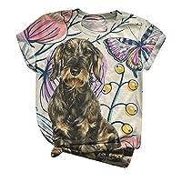 liqiuxiang シャツ かわいい クリスマス犬柄 オシャレ トップス レディース 大きいサイズ ゆったり カジュアル 暖かい雰囲気 上着 創造性デザイン 総柄プリント 半袖Tシャツ 人気 柔らかい バレンタインデースチューム (#2ベージュ,2)