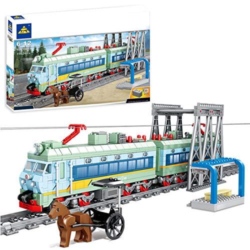 GXZZ Tecnica trenino con motore, binari e illuminazione a LED, 1162 pezzi, kit di montaggio compatibile con Lego Technic