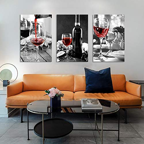 3 Pcs Wine Decor Kitchen Canvas Art Wine Glasses Canvas Paintings Wall Art Pictures with Wood Inner Frame for Dining Room Decor Kitchen Pictures Wall Decor (C, 12X18Inchx3Pcs)