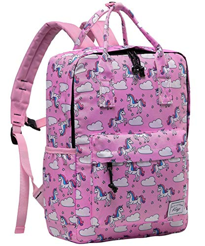 Unicorn Backpack for Little Girls, Kasqo Preschool Toddler Backpack for Kindergarten Children Lightweight Daypack Bookbag with Chest Strap in Unicorn