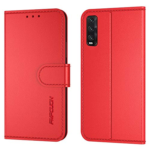 FMPCUON Handyhülle Kompatibel mit Oppo Find X2(Neueste),Premium Leder Flip Schutzhülle Tasche Hülle Brieftasche Etui Hülle für Oppo Find X2(6,7 Zoll),Rot