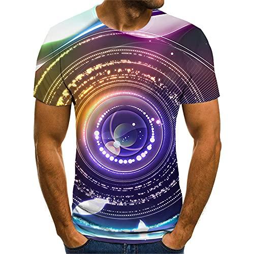 Streetwear Hombres Estilo Hip Hop Cuello Redondo Regular Fit Manga Corta Hombres Shirt Verano 3D Creativo Impresión Abstracta Hombres T-Shirt Tendencia Moda Frescos Hombres Shirt Ocio TX8124 XS