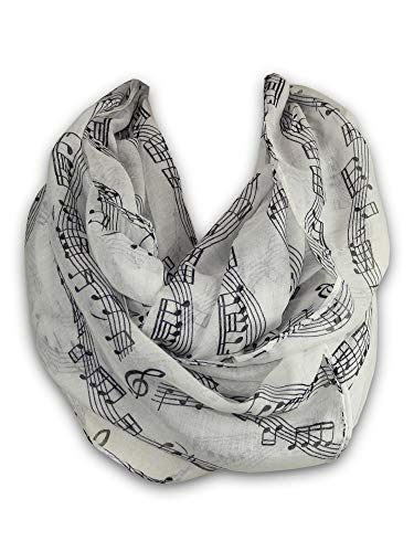 KnitPopShop Music Note Infinity Loop Scarf for Women in the Summer Gift (White)