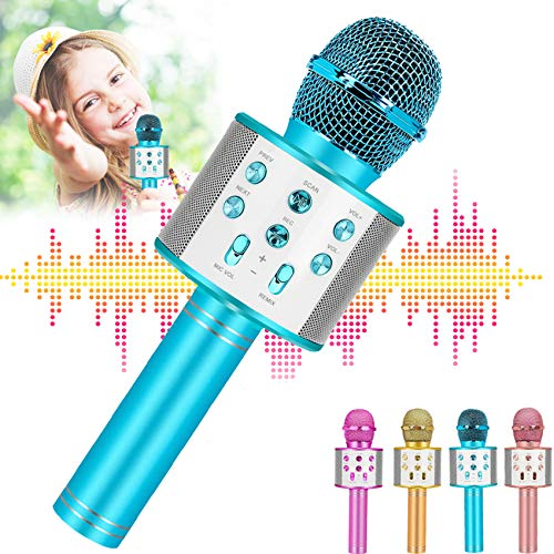 Best Gifts For 7 8 9 Years Old Girls Toys,Wireless Kids Karaoke Microphone,Hottest Toys For 3 4 5 Year Young Girl,Perfect Birthday Presents For Preteen Age 6-16 Blue