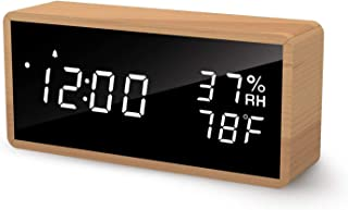Digital Alarm Clock for Bedrooms, LED Display Desk Clock, Time Temperature Humidity, 3 Sets of Alarms, LED Sound Wake Up Function,Beech