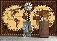 YCRY-壁紙3Dブラウンセーリングの世界地図の壁 -壁の装飾-ポスター画像写真-HD印刷-現代の装飾-壁画-200x140cm
