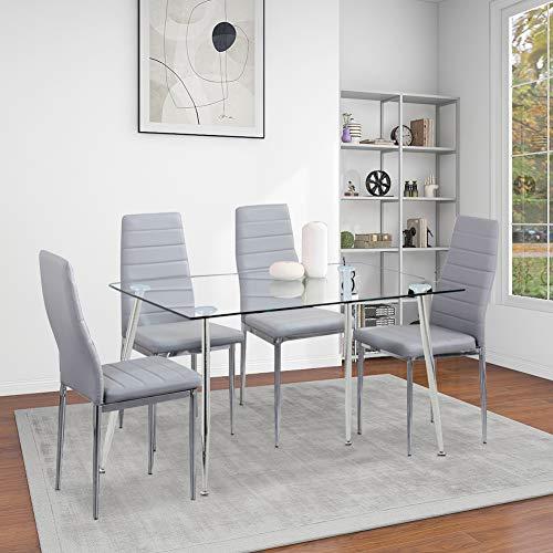 GOLDFAN Esstisch mit 4 Stühlen Moderner Rechteckiger Küchentisch Glas Mit Metallbeine Esszimmerstuhl aus Leder für Wohnzimmer Esszimmer Küche, Silber& Grau
