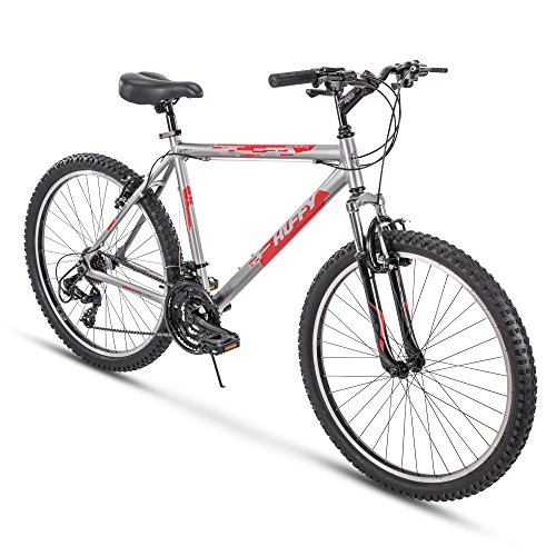 Huffy Hardtail Mountain Trail Bike 24 inch, 26 inch, 27.5 inch, 26 inch wheels/20 inch frame, Gloss Nickel