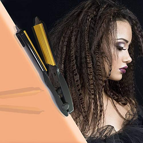 CNY Professional Electric Ceramic Corrugated Hair Crimper Curler Straightening Iron Wide Plates Waver Corn Hair Crimping Machine Flat Irons Styling Tools with Fast Warm-up (Purple)