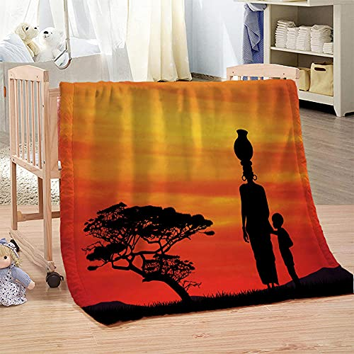 APAJSG Coperta in microfibra Coperta morbida e confortevole, adatta a bambini e adulti 100x130 cm Madre e figlio sotto l'albero