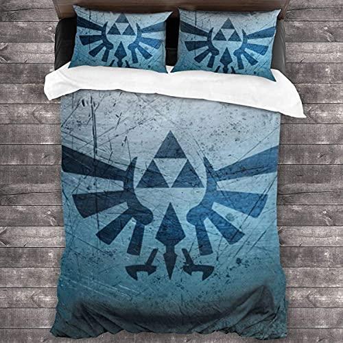 La leyenda de Zelda Juego de ropa de cama con impresión 3D, funda nórdica de animación para niños, juego de 3 piezas (Zelda 2, 220 x 240 cm + 80 x 80 cm x 2)
