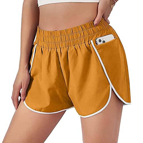 XOXSION Pantalones cortos de verano para mujer, elásticos, ligeros, deportivos, sueltos, informales, para yoga, a la moda, pantalones cortos para la playa (ancho amarillo, S)