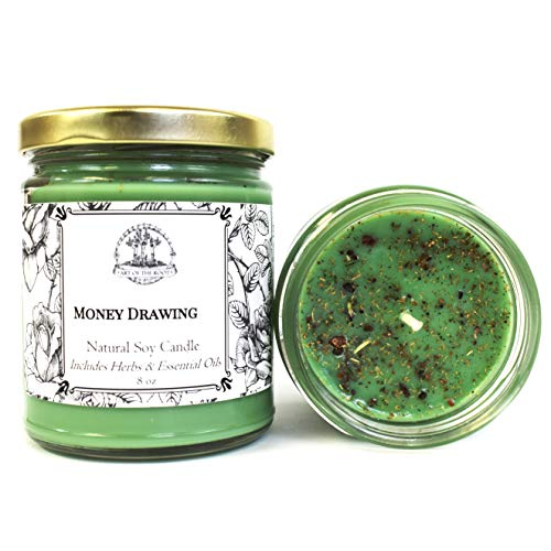 Money Drawing 8 oz Soy Spell Candle for Wealth, Financial Security, Prosperity & Abundance (Wiccan, Pagan, Hoodoo, Magick)