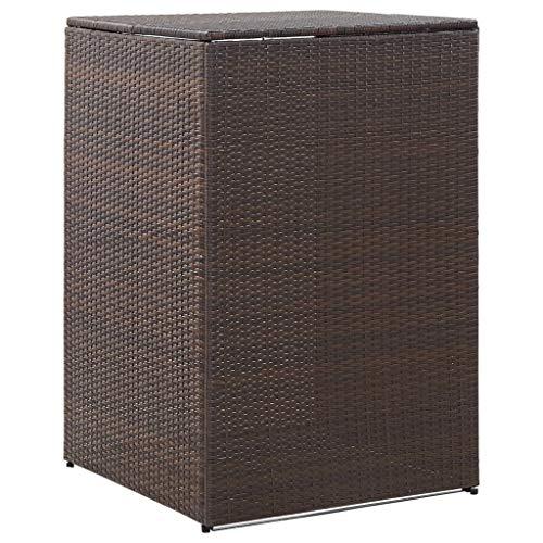 vidaXL Mülltonnenbox für 1 Tonne Braun 76x78x120 cm Poly Rattan