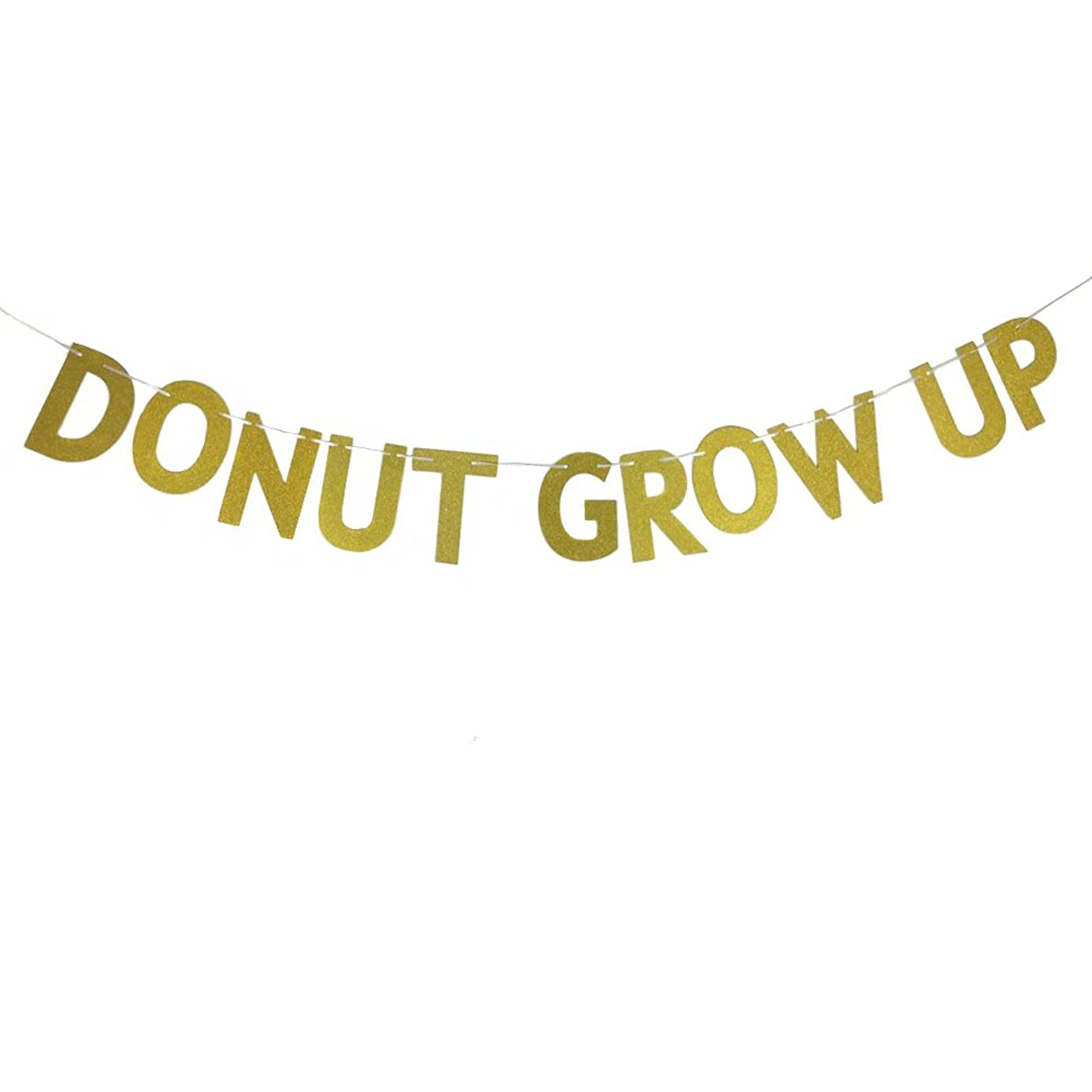 MAGQOO Glitter Gold Donut Grow Up Banner Baby 1st Birthday Party Bunting Photo Booth Props Signs Garland (Golden)
