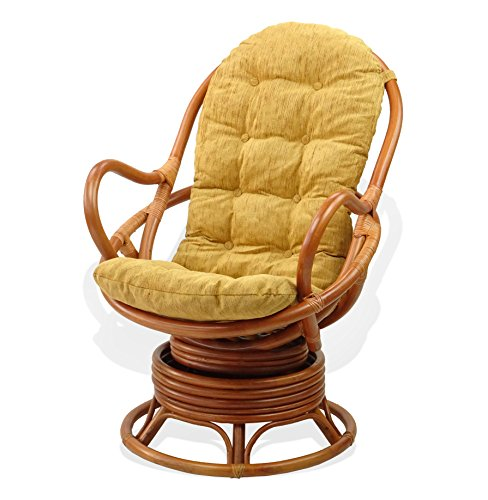 Lounge Swivel Rocking Java Chair Natural Rattan Wicker with Light Brown Cushion, Cognac