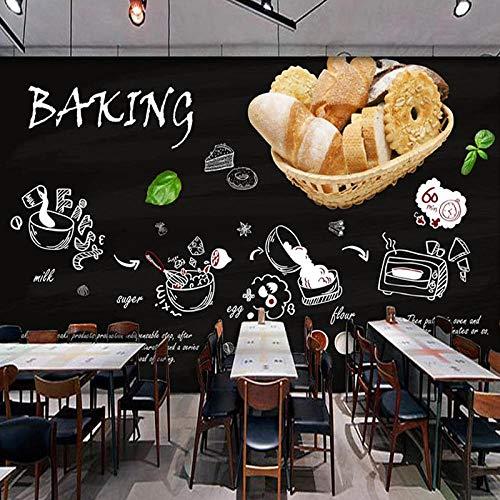 Fotobehang Fotobehang Schoolbord Handgeschilderd Bakken Winkel Restaurant Keuken Brood Taartwinkel Poster Decor Muurschildering Behang-200x140cm(78.7by55.1in)