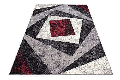 Designer Teppich mit Karo Kariert Meliert in Grau Rot Weiß - ÖKO Tex (140 x 200 cm)